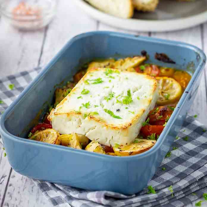 Baked Feta with Artichokes - Tomatoes