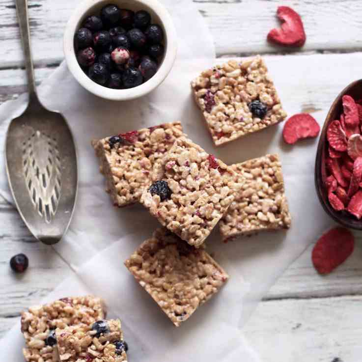 Brown Butter Berry Rice Krispy Treats
