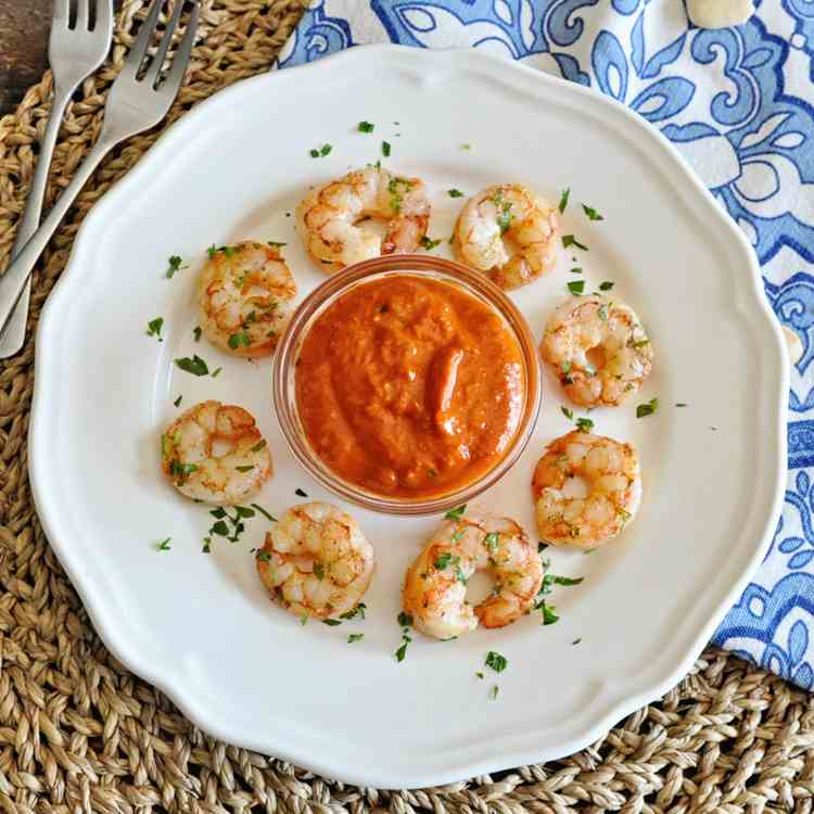 Seared Shrimp with Romesco Sauce