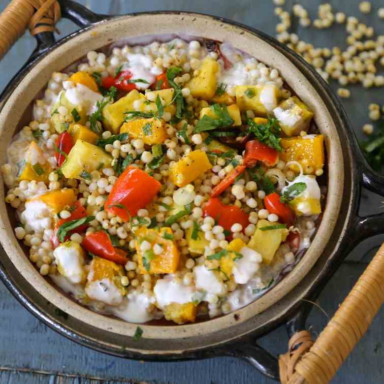 sorghum and roasted vegetable salad