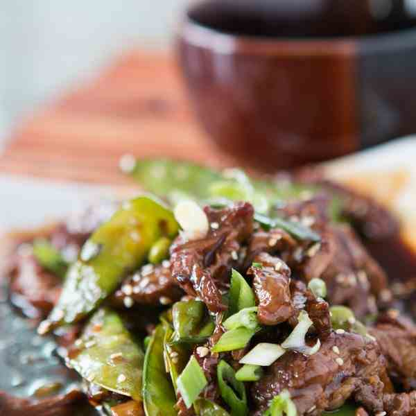 beef with snow peas and edamame