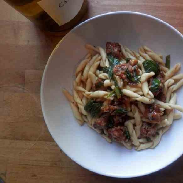 Fusilli with Sausage, Ramps and White Wine