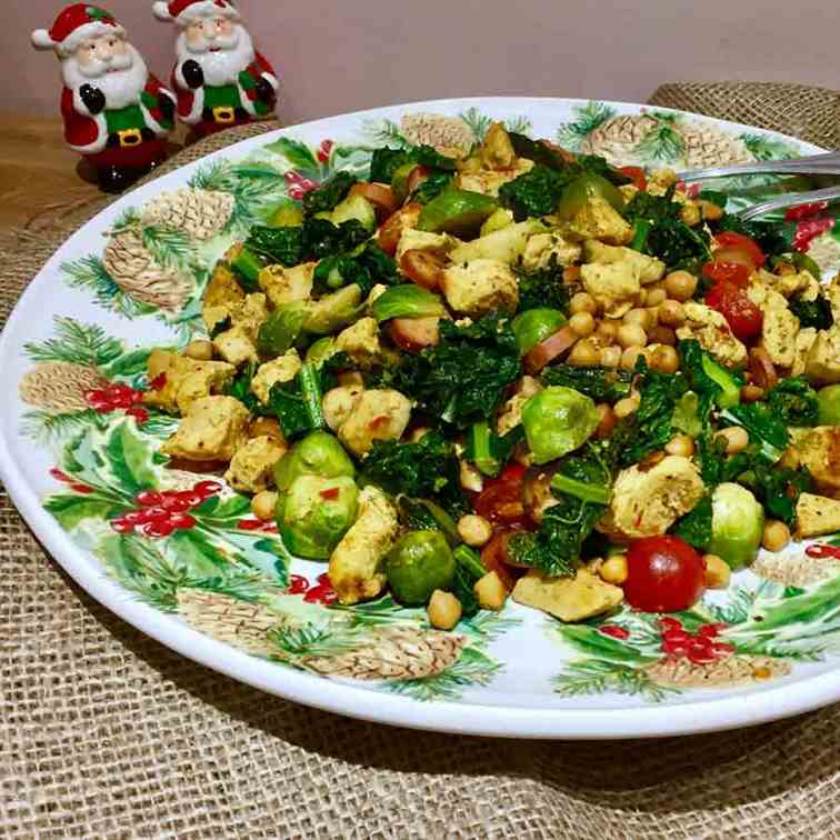 Curried brussels sprouts with chicken and