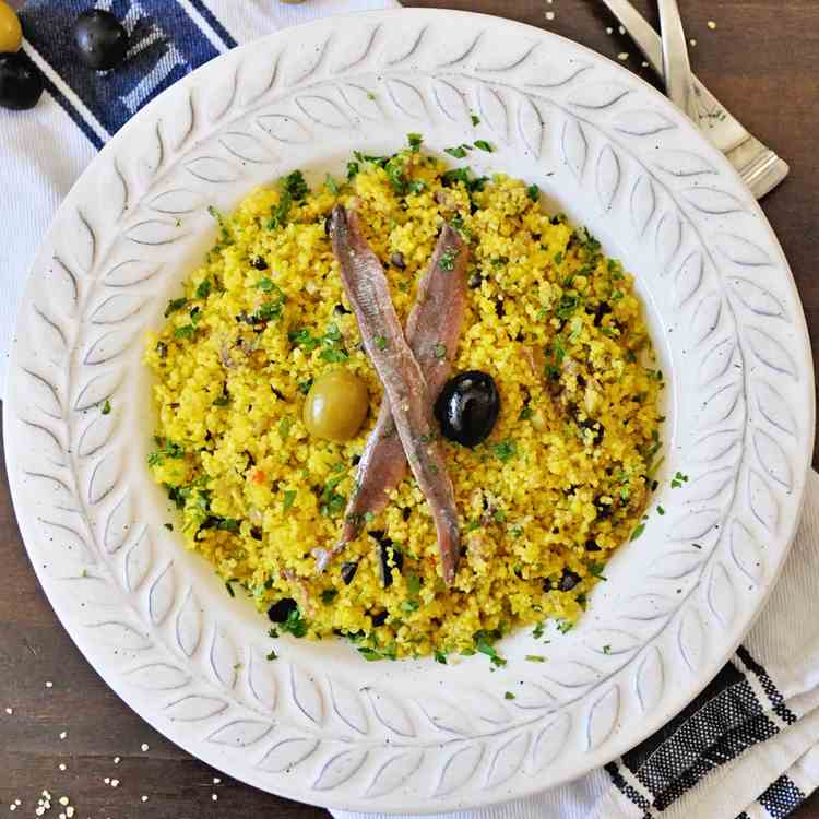 Saffron Couscous with Spanish Olives