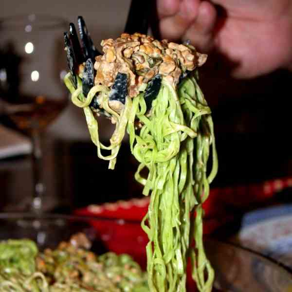 Spinach Noodles with Porcini Chicken Sauce