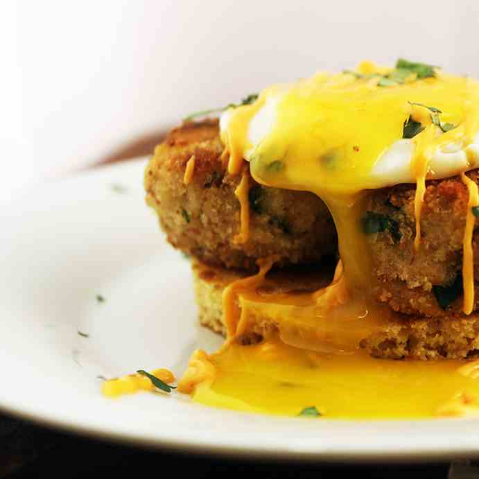 Crab Cake with Egg - Cornmeal Pancake