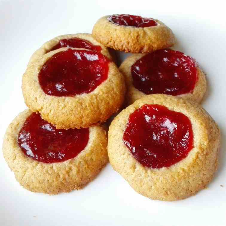 4-Ingredient Jam Thumbprint Cookies