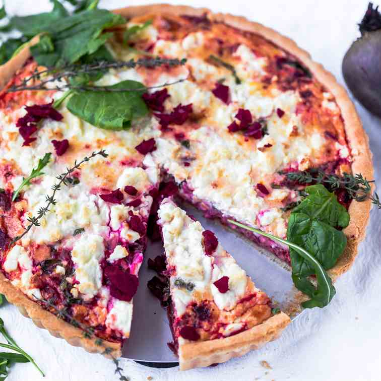Beetroot Feta and Spinach Tart