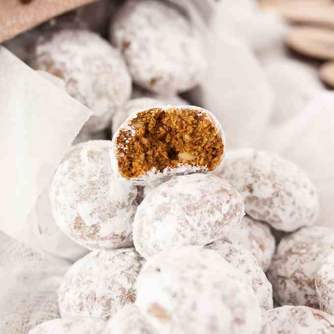Gingerbread Almond Snowball Cookies
