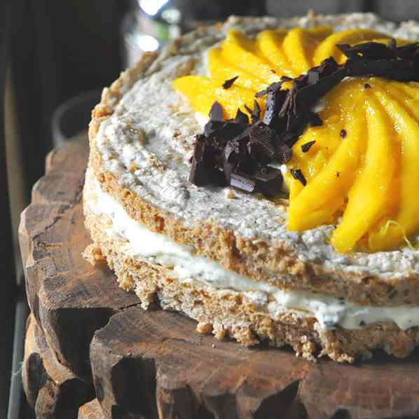 Mango and Chocolate Meringue Cake