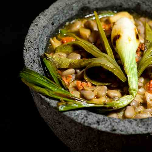 Beans with nopales and oyster mushroom