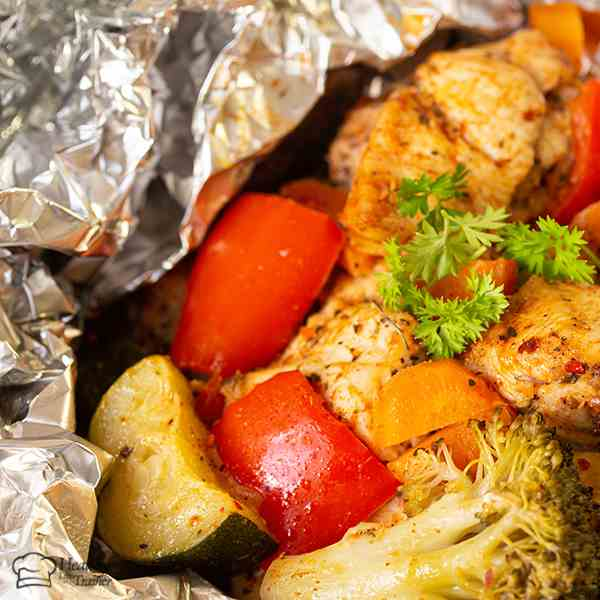 Foil Pack Cajun Chicken And Veggie Dinner