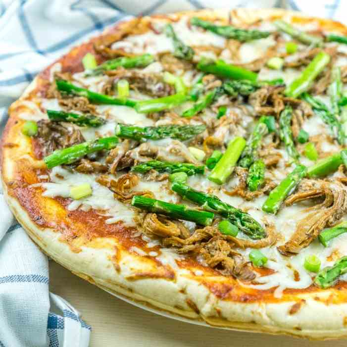 BBQ Pulled Pork Pizza with Asparagus