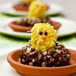 Lemon Krispie Chick in Cocoa Krispie Nest