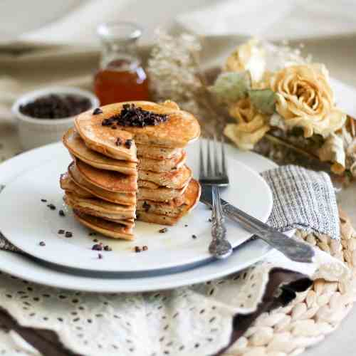 Coconut and Cacao Nibs Pancake Tower