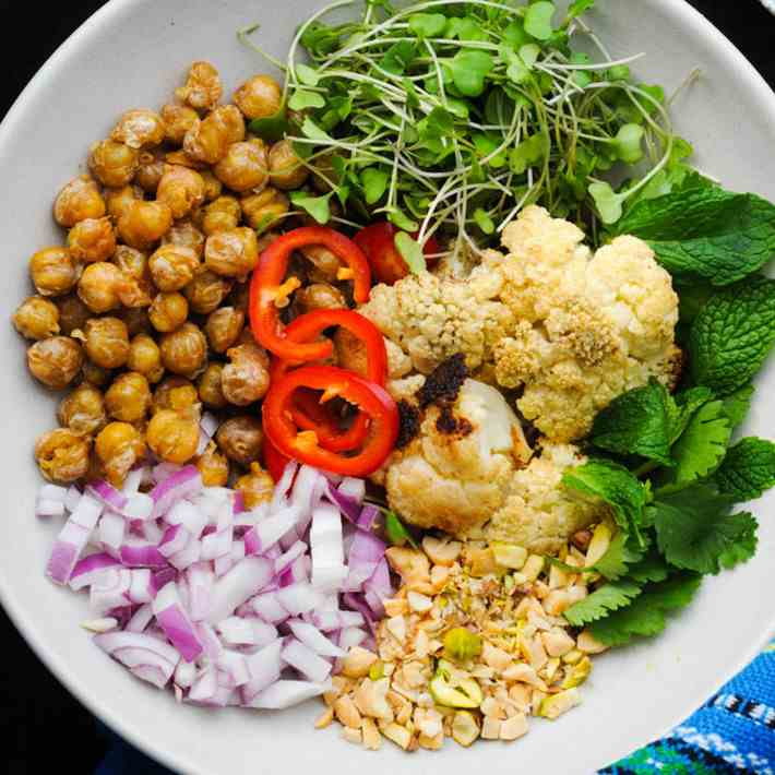 Crispy Chickpea Chaat Bowl