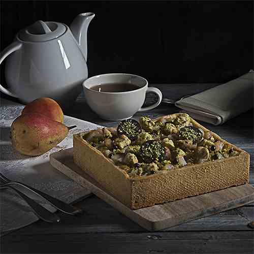 Pistachios, pears and chocolate tart