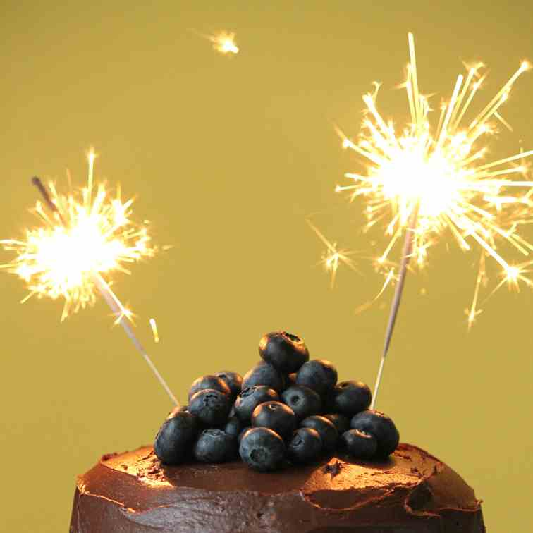Blueberry Chocolate Mousse Birthday Cake