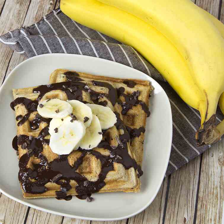 Sourdough Banana Choc Nib Waffles