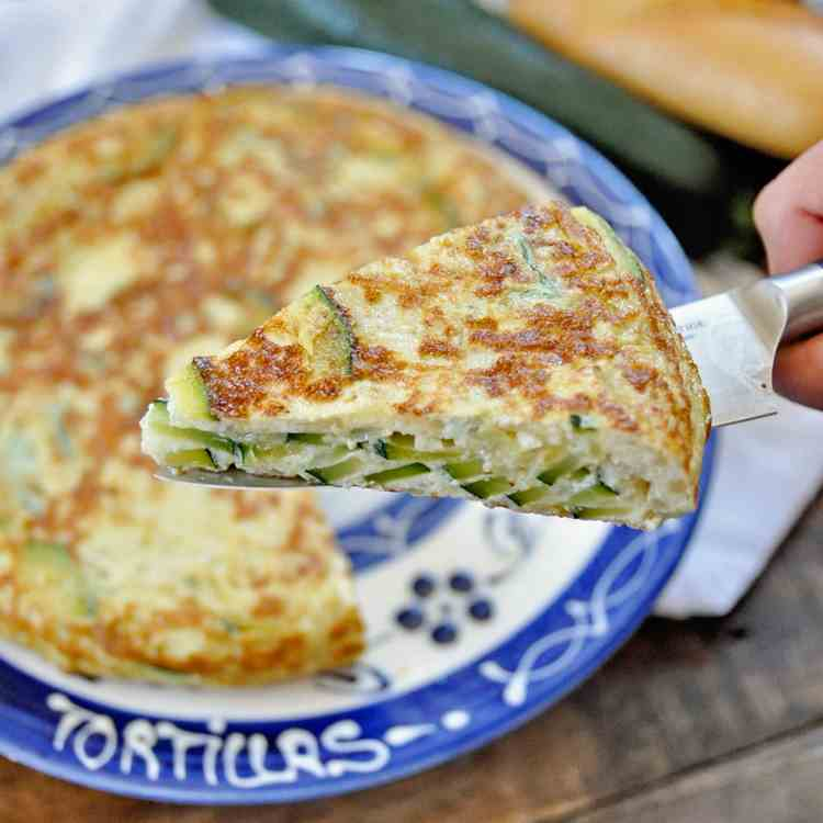 Spanish Tortilla with Zucchini - Onions