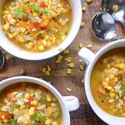 Corn, Three Pepper and Orzo Soup