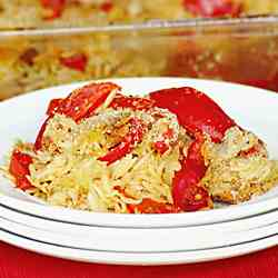Baked Sausage Peppers Onion & Orzo