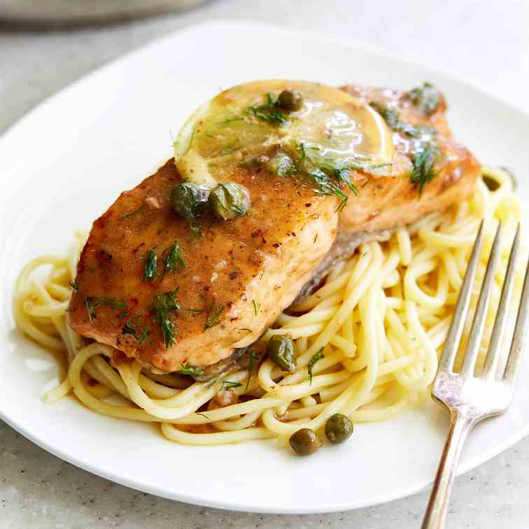 Salmon Piccata with Velvety Sauce