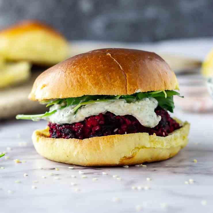 Beetroot Burgers with Whipped Feta