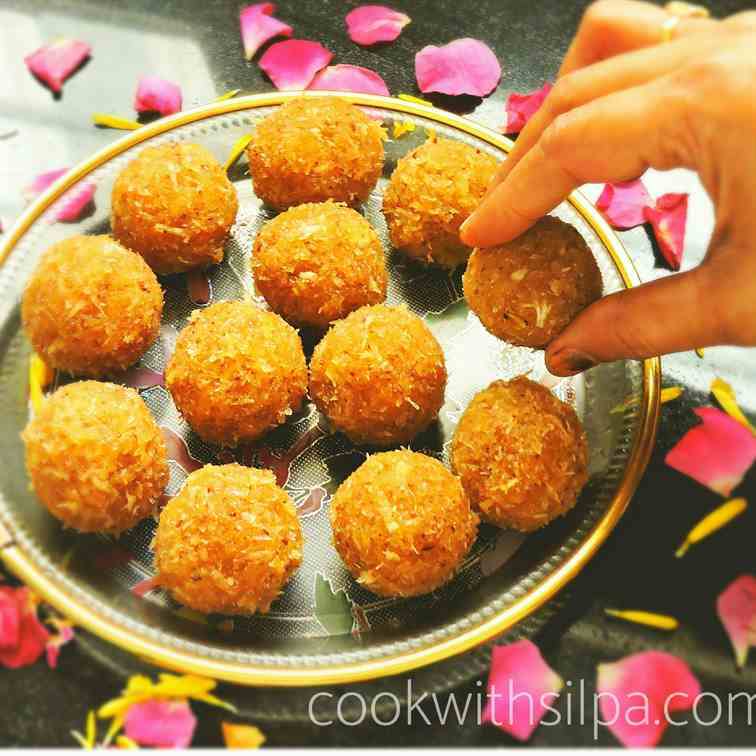 Coconut ladoo with jaggery