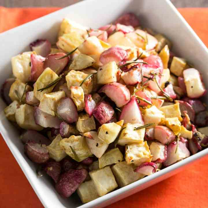 Roasted Celery Root and Radishes