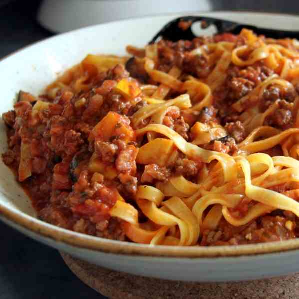 Tagliatelle with Veggie-Meat Sauce