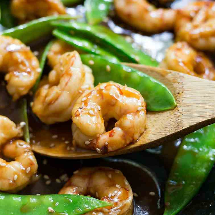 Sweet and Spicy Shrimp and Snow Peas Stir