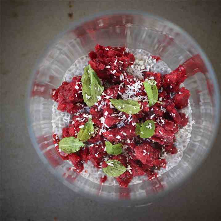 Chia Pudding with Raspberry Granita