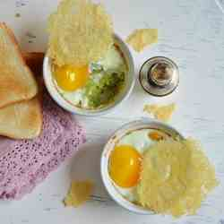 Eggs in ramekins with favabeans cream