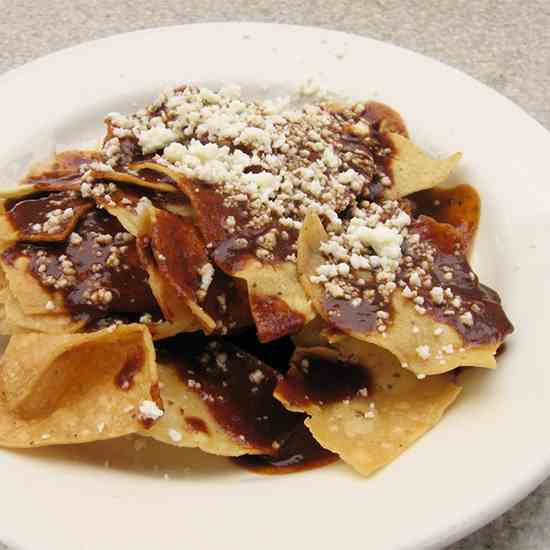Chips with Mexican Chocolate Mole Sauce an