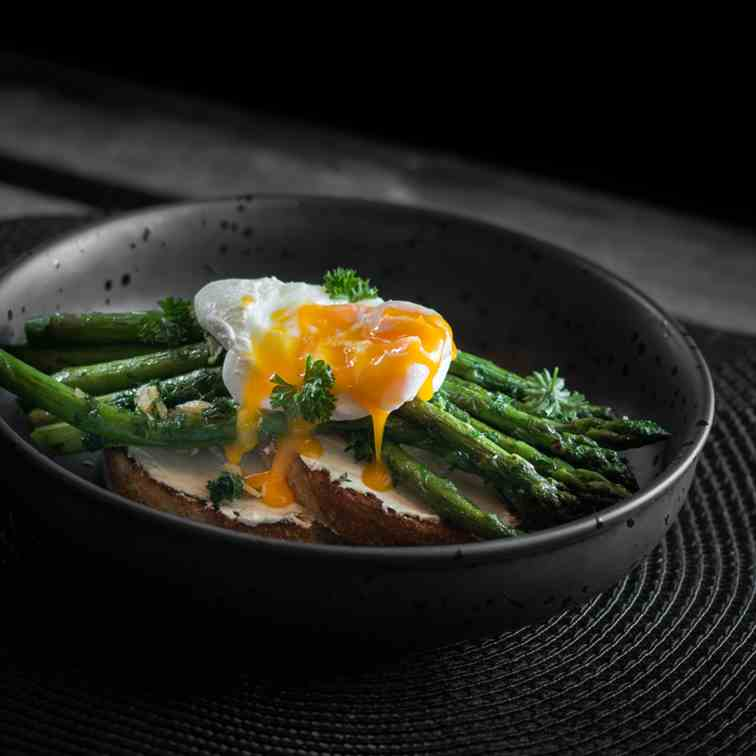 Cream Cheese, Asparagus and Poached Egg on