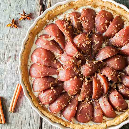 Poached pear and cinnamon pie