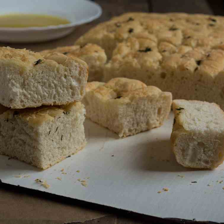 Focaccia with Baked Garlic Sauce