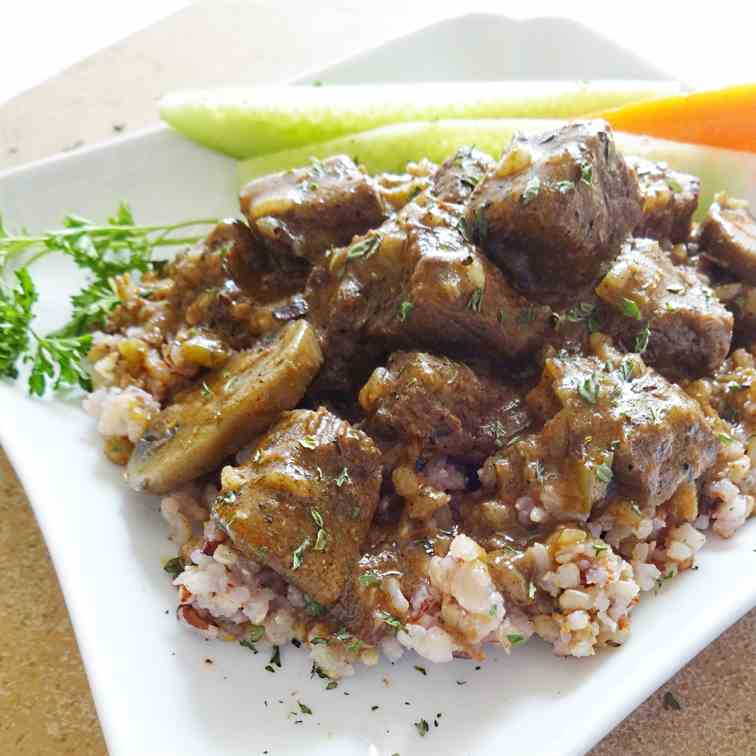 Rice and Beef Tips