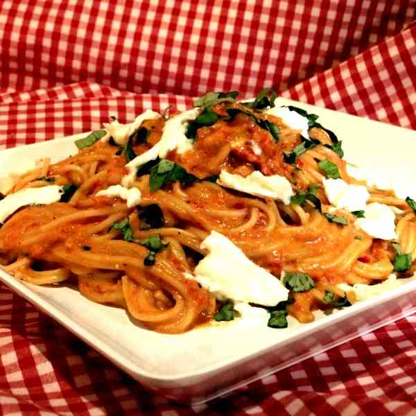 Spelt Pasta with Red Pepper Tomato Sauce