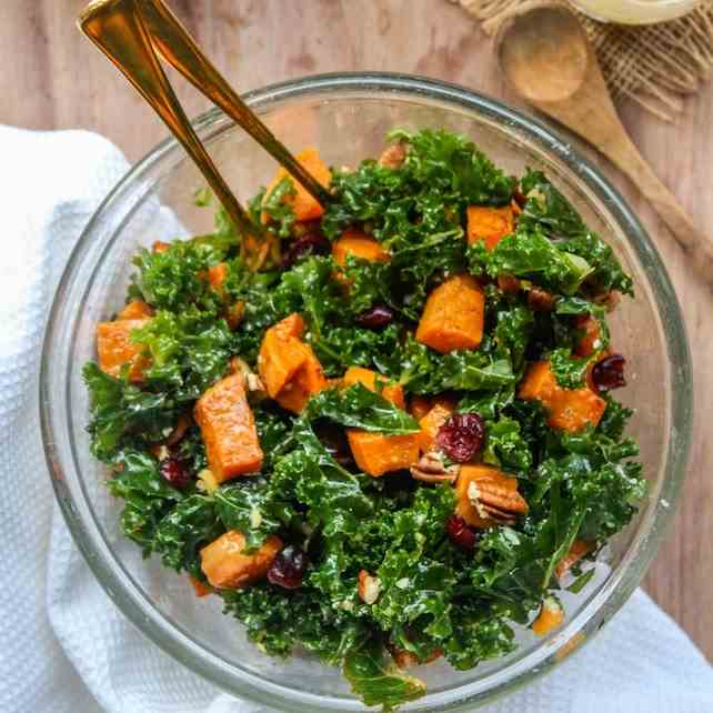 Spicy roasted sweet potato - kale