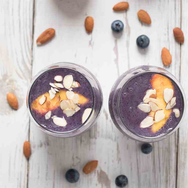 Peach - Blueberry Almond Milk Smoothie