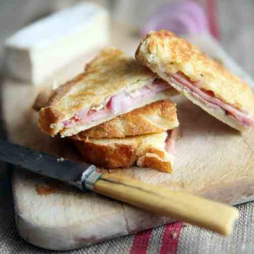 Quince, Brie, and Black Forest Ham Panini