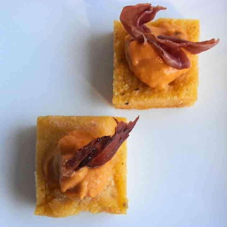 Fried Polenta w/Pumpkin Mousse and Speck