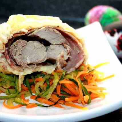 Lamb fillet in Puff Pastry with vegetable