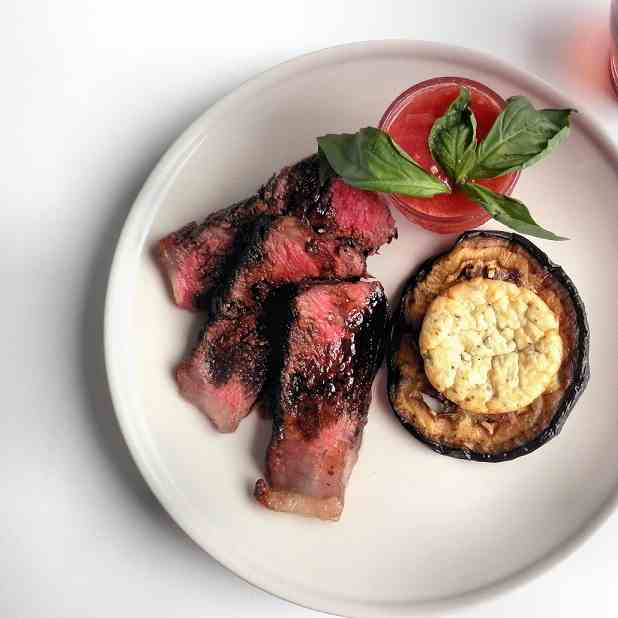 Grilled Steak with Tomato Sorbet