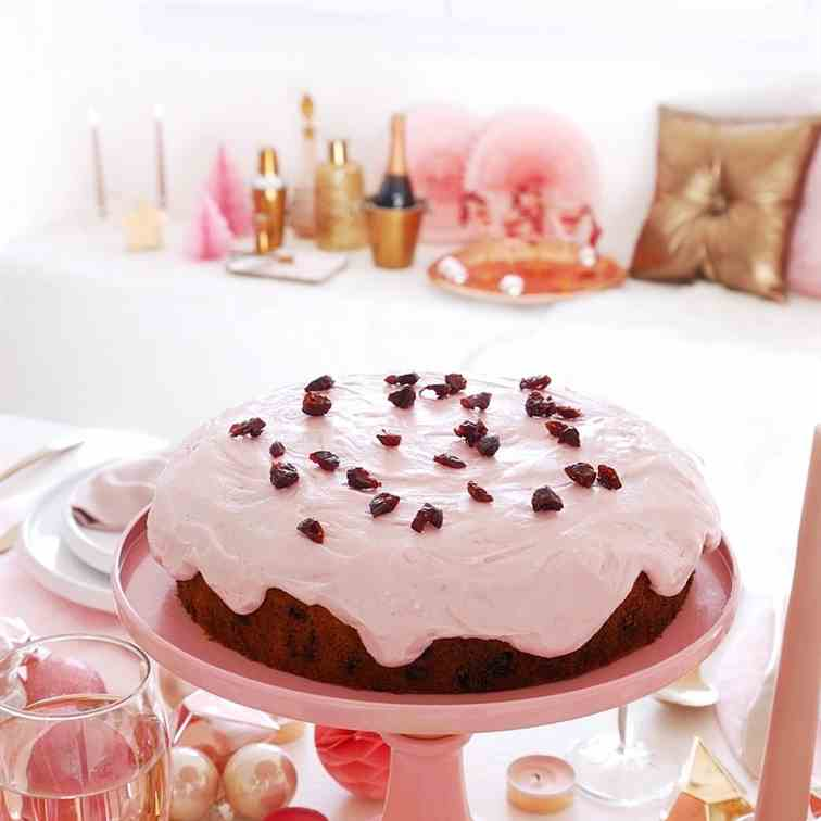 Cranberry Christmas Cake - Pink Frosting