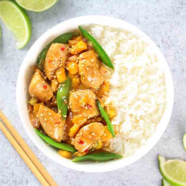 Mango Chicken Stir-Fry w- Snap Peas