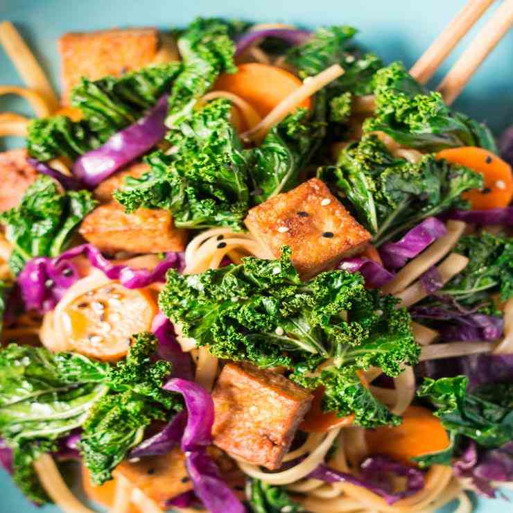 Miso-maple noodles with kale