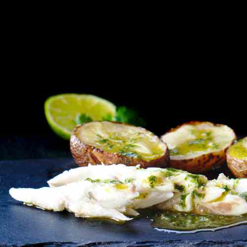 Salt sea bass with green sauce